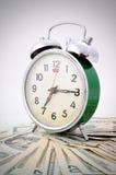 Zeit ist Geld grüne alte Uhr Lizenzfreie Stockfotografie
