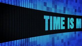 Zeit ist Geld Seitenwand-Anzeigetafel-Zeichen-Brett des text-Blättern-LED stock video footage