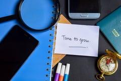 Zeit, jetzt geschrieben auf Papier zu wachsen Pass, Lupe, Kompass, Smartphone lizenzfreie stockfotos