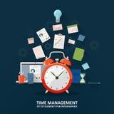 Zeit managemen Uhr, Sanduhr, zu-listen, Büroartikel, Laptop und Smartphone auf Flache Illustration Stock Abbildung