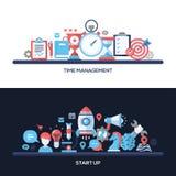 Zeit-Management, beginnen oben flache Konzept- des Entwurfesfahnen, die eingestellten Titel Stockfotos