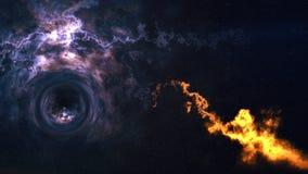 Zeit-raum Biegung, flog bis zum schwarzen Loch, Ereignishorizont stockbild