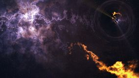 Zeit-raum Biegung, flog bis zum schwarzen Loch, Ereignishorizont lizenzfreies stockfoto