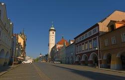 Zeit Stadt-Domazlice im Frühjahr stockbilder