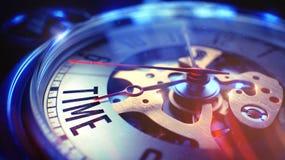 Zeit- Text auf Weinlese-Taschen-Uhr 3d übertragen Lizenzfreie Stockfotos