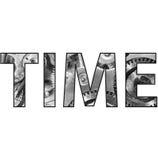 Zeit-Text-Wort mit Taschen-Uhr nach innen stockfotografie