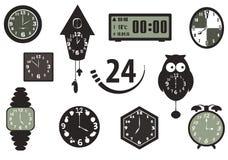 Zeit- und Uhrikonen Stockfotos