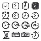 Zeit- und Uhrikonensatz Stockbild