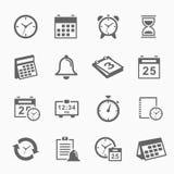 Zeit- und Zeitplananschlagsymbolikonen eingestellt Lizenzfreie Stockbilder