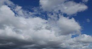 Zeit-Versehen weiße geschwollene Wolken mit klarem blauem Himmel (UltraHD 4K) stock video