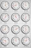 Zeit-Zonen-Uhren Lizenzfreies Stockfoto