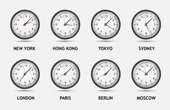 Zeit-Zonen-Weltvektorillustration Lizenzfreie Stockfotografie