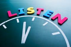 Zeit, zu hören Konzept Stockbild