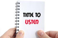 Zeit, zu hören Textkonzept Lizenzfreies Stockfoto