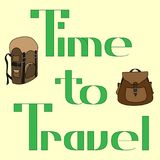 Zeit, zu reisen Designkarte mit Rucksäcken auf hellgelbem Hintergrund Stockbilder