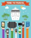 Zeit, zu reisen flacher Hintergrund mit der Hand Lizenzfreie Stockfotografie