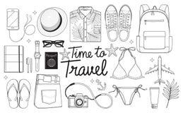 Zeit, zu reisen Konzept Reisegegenstände legen flach zeichnende Art VE vektor abbildung