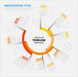 Zeitachse-Berichtsschablone Vektor Infographic Kreis Stockbild