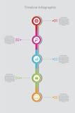 Zeitachse Infographic Rand der Farbband-, Lorbeer- und Eichenblätter Vektor stock abbildung
