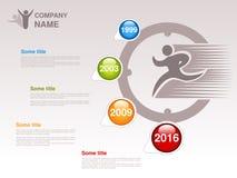 Zeitachse Infographic-Schablone für Firma Zeitachse mit den bunten Meilensteinen - blau, grün, orange, rot Zeiger von einzelnem Y Stockbilder