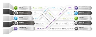 Zeitachse Infographic-Schablone mit Schritten Stockbilder