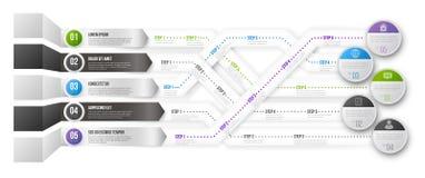 Zeitachse Infographic-Schablone mit Schritten Lizenzfreies Stockbild
