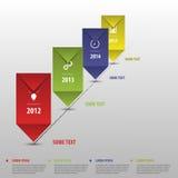 Zeitachse infographics mit Elementen und Ikonen Vektor Lizenzfreie Stockbilder