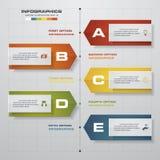 Zeitachse infographics, 5 Schrittelemente und Ikonen Zahl-Fahnenschablone des Designs saubere Stockbild