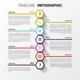 Zeitachse Infographics Sechseckige Designschablone Vektor