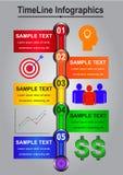 Zeitachse Infographics-Zusammenfassung für Geschäft Stockfotos