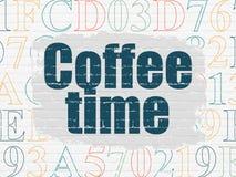 Zeitachsekonzept: Kaffee-Zeit auf Wandhintergrund Vektor Abbildung