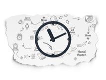 Zeitachsekonzept: Uhr auf heftigem Papierhintergrund Lizenzfreies Stockfoto