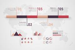 Zeitachsevektor infographic Karte der Welt Lizenzfreie Stockbilder