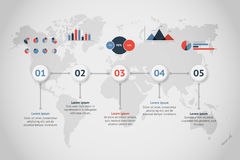Zeitachsevektor infographic Karte der Welt Stockfotos
