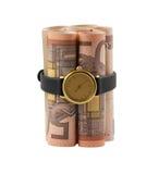 Zeitbombe mit 50 Eurorechnungen Lizenzfreie Stockfotos
