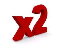 Zeiten zwei oder x 2 Stockbild