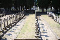 Zeitenlik military cemetery and World War I memorial park in Thessaloniki, the largest in Greece. stock image