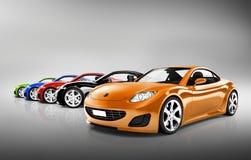 Zeitgenössische glänzende Sport-Auto-Sammlung Stockfotografie