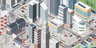 Zeitgenössische isometrische Stadt lizenzfreie abbildung