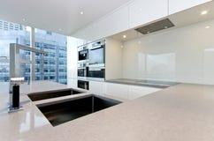 Zeitgenössische Küche mit Spitzenspezifikt.-Geräten Stockfotografie