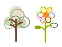 Zeitgenössischer Baum u. Blume lizenzfreie abbildung