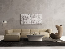Zeitgenössischer grauer Wohnzimmerinnenraum Stockfotos