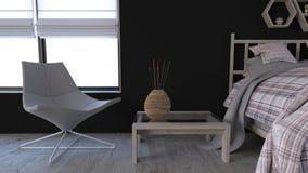 zeitgenössischer Innenraum des Schlafzimmer-3D lizenzfreie stockbilder