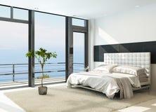 Zeitgenössischer moderner sonniger Schlafzimmerinnenraum mit enormen Fenstern Stockbilder