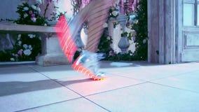 Zeitgenössischer Tänzer, Füße Schritte, Schlurfentanz, Mädchen in den Strumpfhosen ein Käfig und glänzende geführte Stiefel stock video footage
