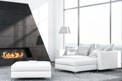 Zeitgenössischer weißer Wohnzimmerinnenraum mit Kamin Stockfoto