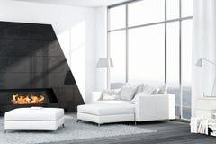 Zeitgenössischer weißer Wohnzimmerinnenraum mit Kamin Stockfotografie
