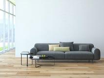 Zeitgenössischer Wohnzimmerdachbodeninnenraum Stockfoto