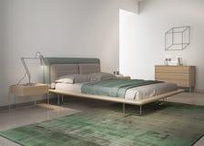 Zeitgenössisches grünes Schlafzimmer stockfotos