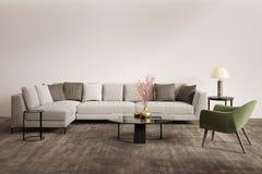Zeitgenössisches graues Wohnzimmer mit grünem Lehnsessel Stockfotos